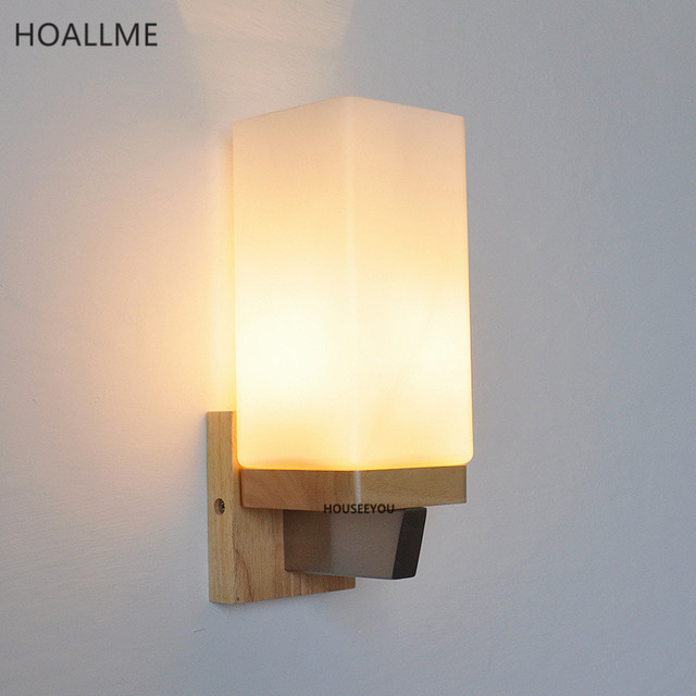 Nordic Wooden Art Wall Lamp Bedside Light Sconces Decor Fixture .