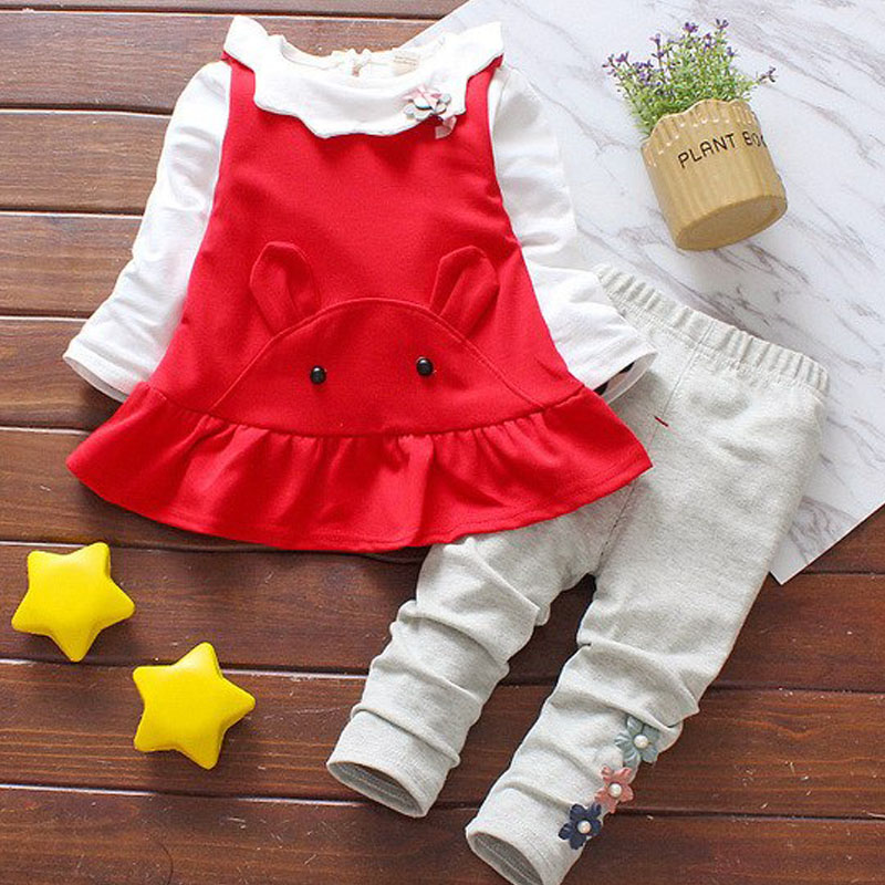 Children's Clothing Long-Sleeved Autumn Baby-Girls Rabbit Suit Doll-Collar And Lovely