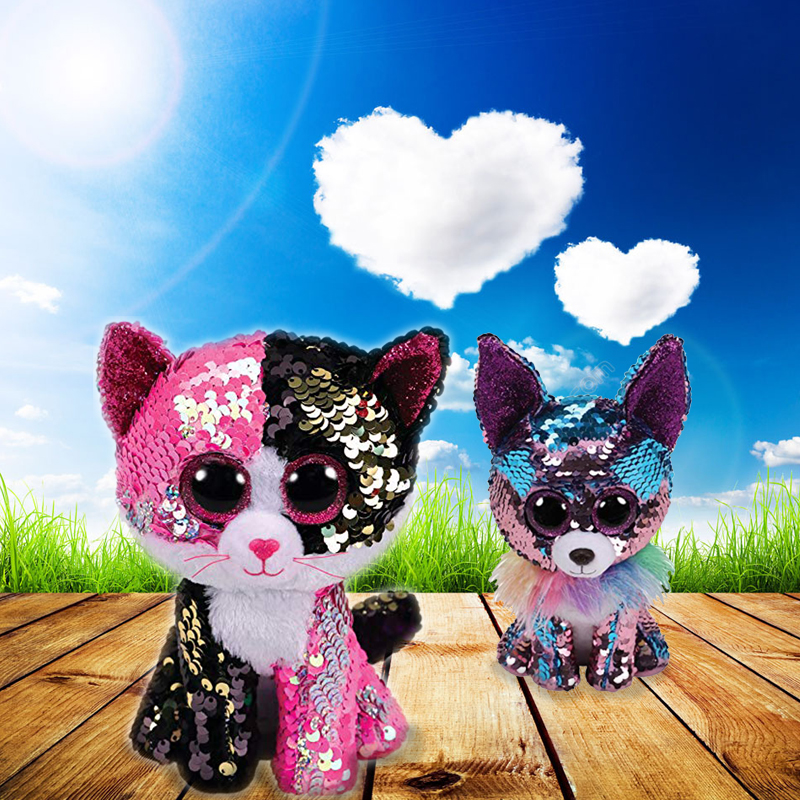 "Ty Beanie Boos 6"" 15cm Flippables The Pink/Black Sequin Cat Plush Regular Soft Big-eyed Stuffed Animal Collection Doll Toy"