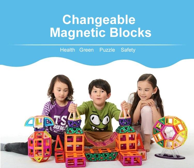 56 ШТ. Пластик + Магнитных Блоков Кирпича Модели Поезд Развития Building Block Дети Игры Строительство Куб Кирпич