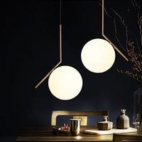 Ditoon Postmodern Led Pendant Light Living Room Bedroom Dining Room Metal Lamp Designer Glass Ball Shape Gold Warm White Luster