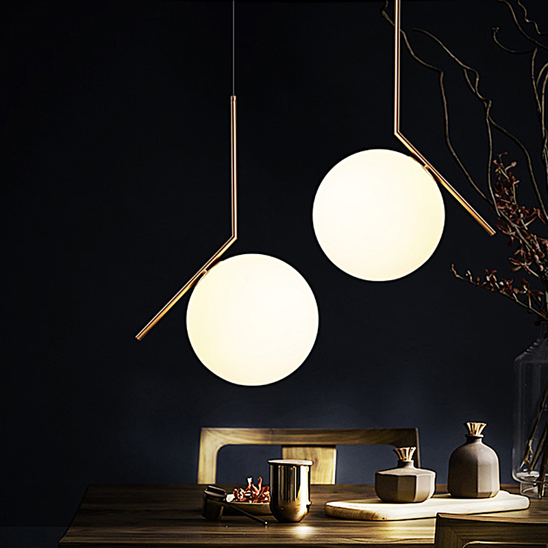 Ditoon Postmodern Led Pendant Light Living Room Bedroom Dining Room Metal Lamp Designer Glass Ball Shape Gold Warm White Luster