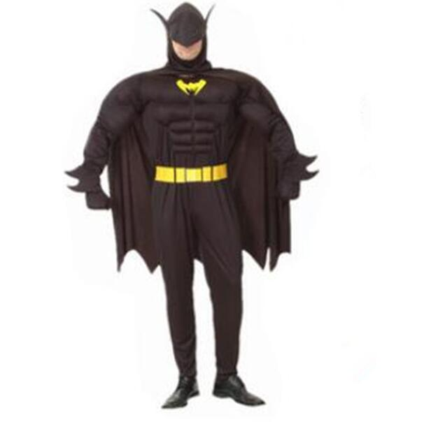 Halloween Batman Costume Super Hero Adult Man Fale Costume Muscle Carinval Birthday Party Gift Jumpsuit+cloak+belt