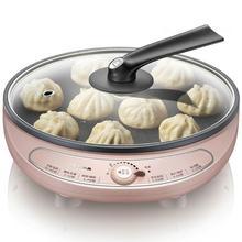 Многофункциональная электрическая форма для выпечки, 27 см, кухонные инструменты для приготовления пищи, стеклянная крышка, один противень, 3 см, высота 1000 Вт, розовый цвет