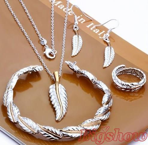 Посеребренная оптовая цена перо кольцо размер 8 Падение серьги кулон браслет ожерелье Свадебный комплект ювелирных изделий