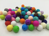 HOT!! Fashion DIY 15MM 100PCS Silicone Teething Necklace beads Full colors Food Grade silicone beads jewellery Free shipping