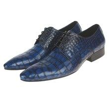 Serpentina azul/Preto/marrom bronzeado sapatos oxfords dos homens sapatos de casamento sapatos de negócios dos homens vestido sapatos de couro genuíno