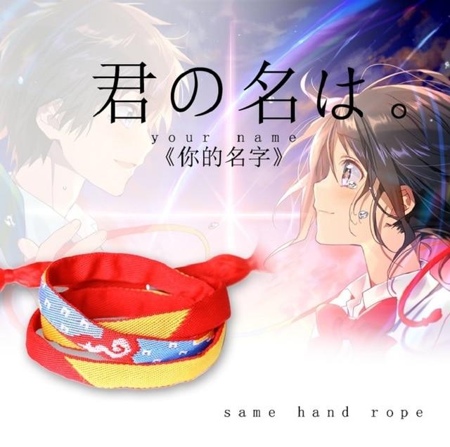 Custom Text Heißer Japan Anime Film Ihren Namen Handmade Armband + Silber  Schnalle Kiminonawa Mitsuha Valentinstag
