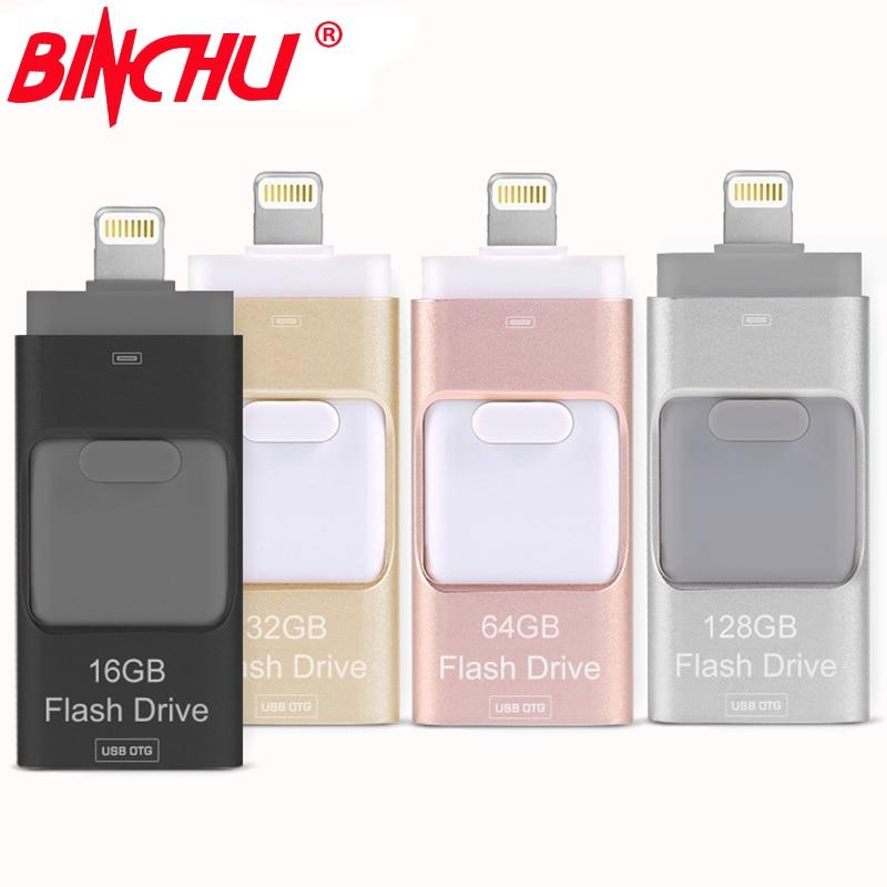 BINCHU iOS10 Lightning OTG Flash Drive 8GB 16GB 32GB 64GB For iOS and USB For PC