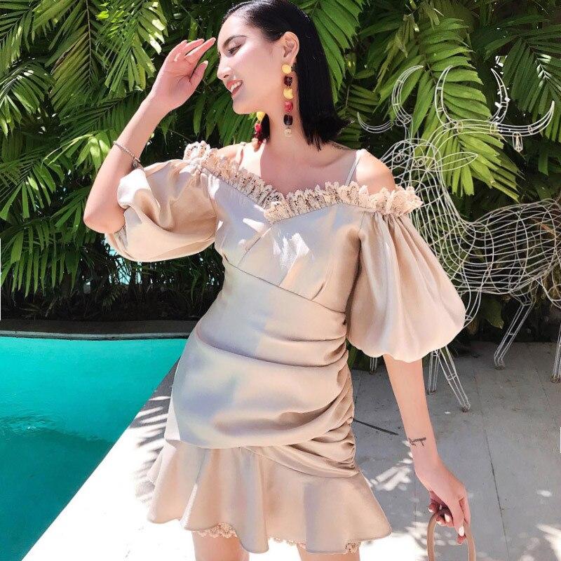 2019 printemps et été Lotus feuille bord robe douce épaule Sexy fleur robe élégante femmes robe a-ligne manches bouffantes