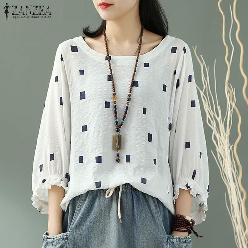 ZANZEA-Blusa informal con manga de volantes para verano, camisa asimétrica con cuello redondo para mujer, 5XL, 2021