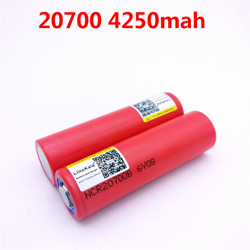 2pcs/lot Liitokala  20700B 20700 4250mAh Battery NCR20700B High Rate Battery Cell 20A 20700
