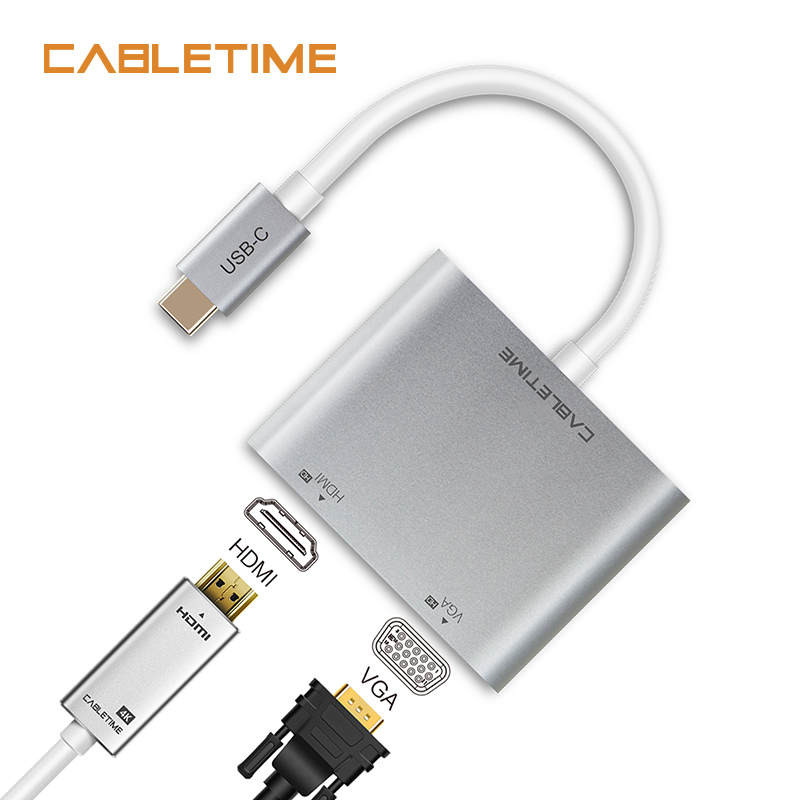 Cabletime USB C HDMI VGA Adapter Type C to HDMI 4K USB C VGA Converter USB 3.1 for Samsung Galaxy S9/S8/Note 9 Huawei Mate N129