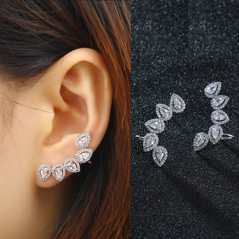 Fashion Earring Jewelry Zirconia Crystal Leaves Ear Jackets Jewelry Leaf Ear Stud Earrings For Women Boucle Doreille Aros AE291