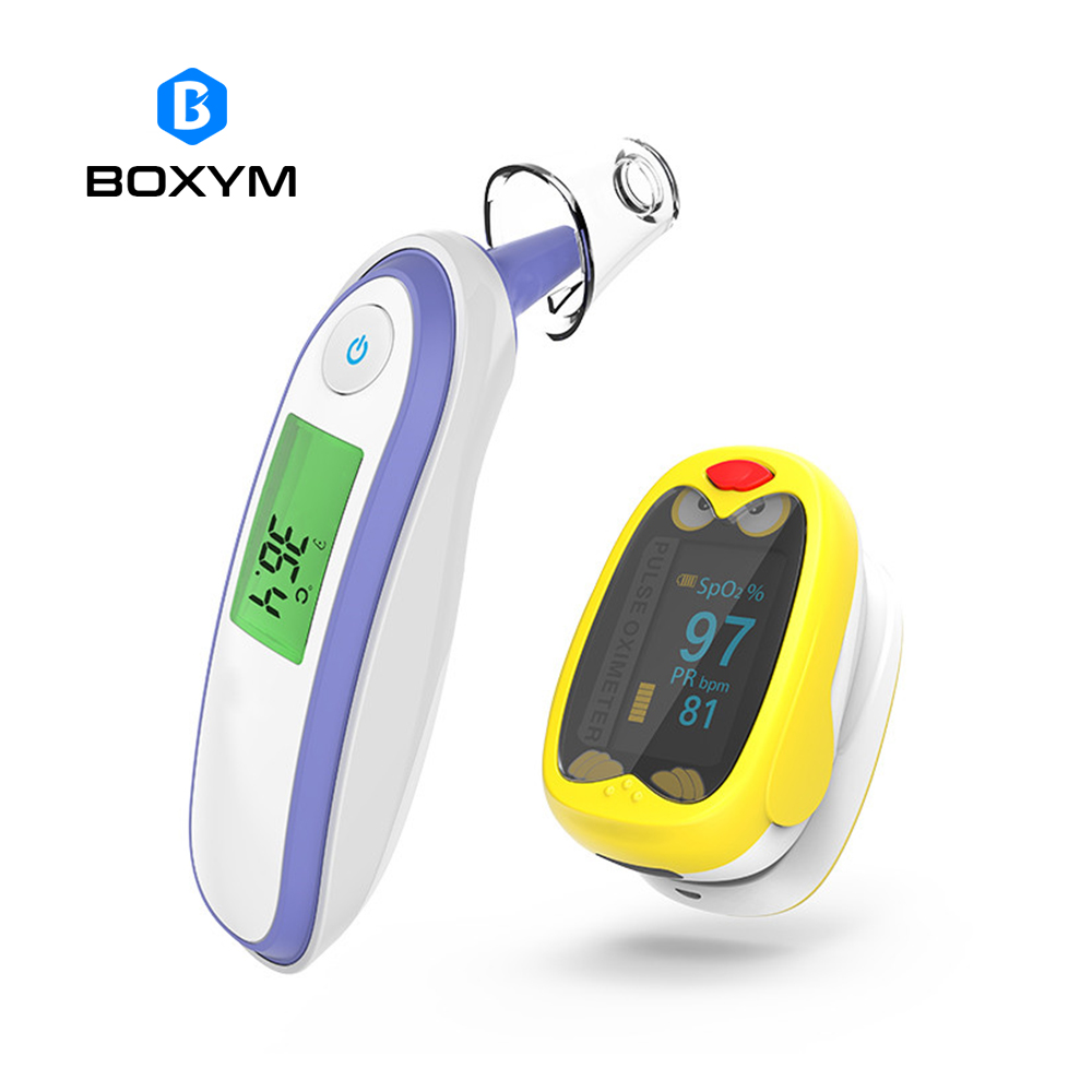 BOXYM Children Finger Pulse Oximeter Baby Infrared Ear Forehead Thermometer kids Pediatric oximetro SpO2 Saturation Meter