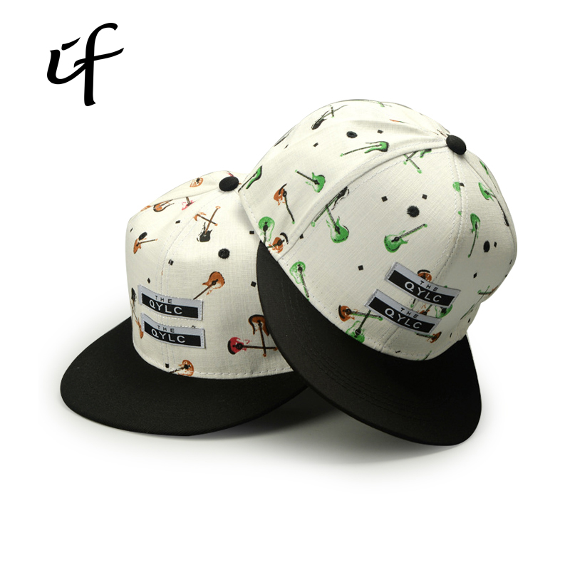 2016 Brand New Fashion Guitar Pattern Leather Patch Embroidery Along Rap Baseball Cap Snapback Hip Hop Hat For Men Women
