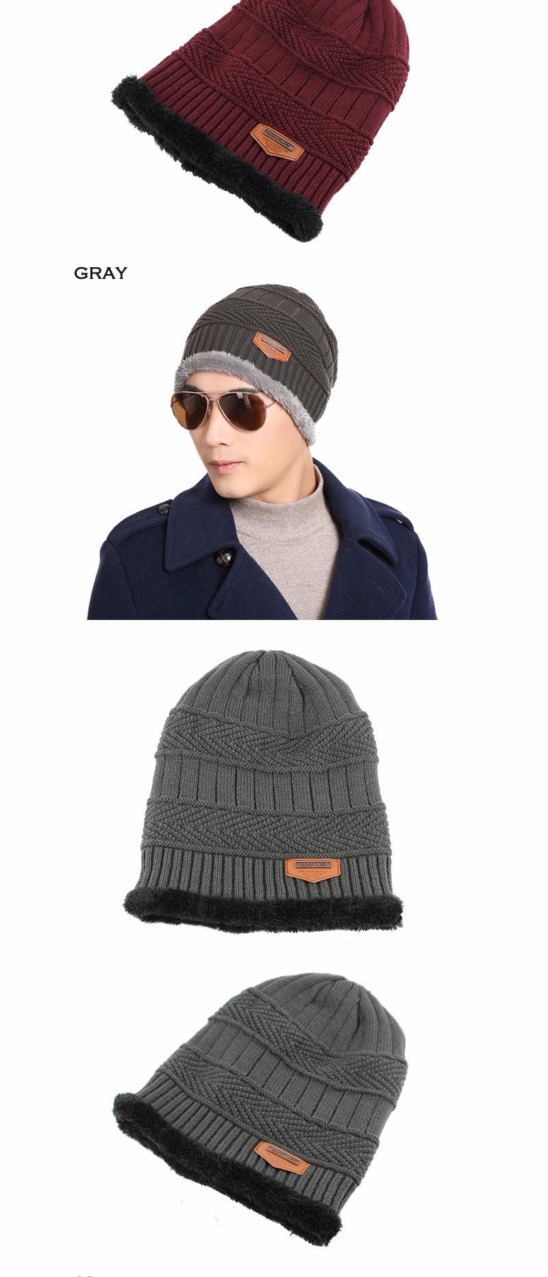 FETSBUY Pure Color Winter Skullies Beanies Hat Knit Winter Hat For Man Warm Hat Velvet Cap Bonnet Toucas Inverno Knitted Hats 17