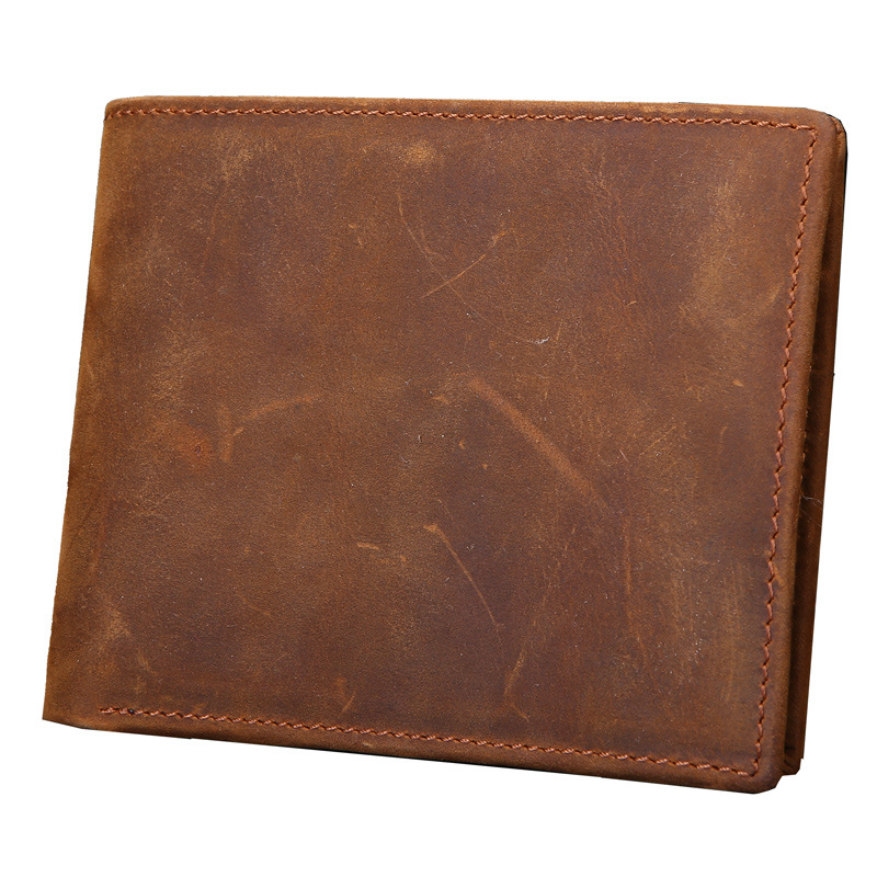 Genuine Leather Men Purse Crazy Horse Vintage Short Dollar Wallet High Quality Handmade Leather Wallet Money Case Coin Pocket gathersun the secret life of walter mitty retro wallet handmade custom vintage genuine wallet crazy horse leather men s purse