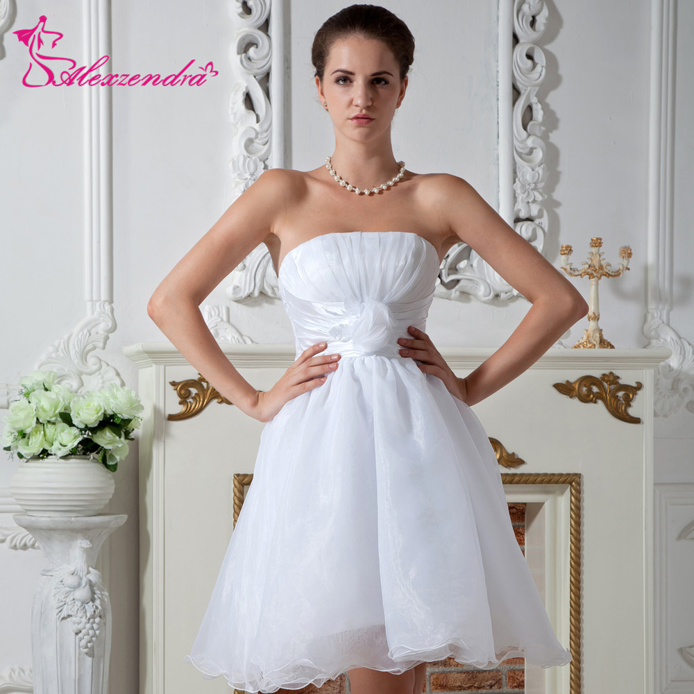 Wedding Gowns With Ruffles: Aliexpress.com : Buy Alexzendra Organza Short Mini Wedding