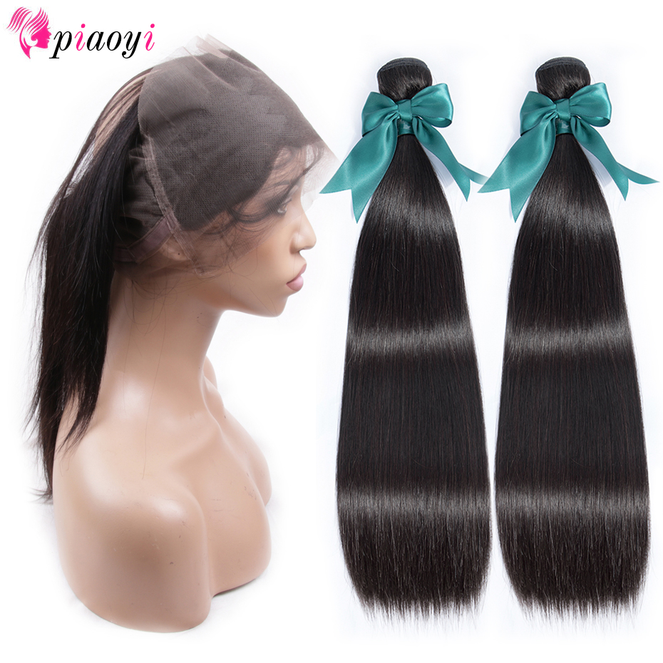 Straight Hair Bundles With Frontal Closure Brazilian Human Hair Weave Bundles With 360 Lace Frontal Closure