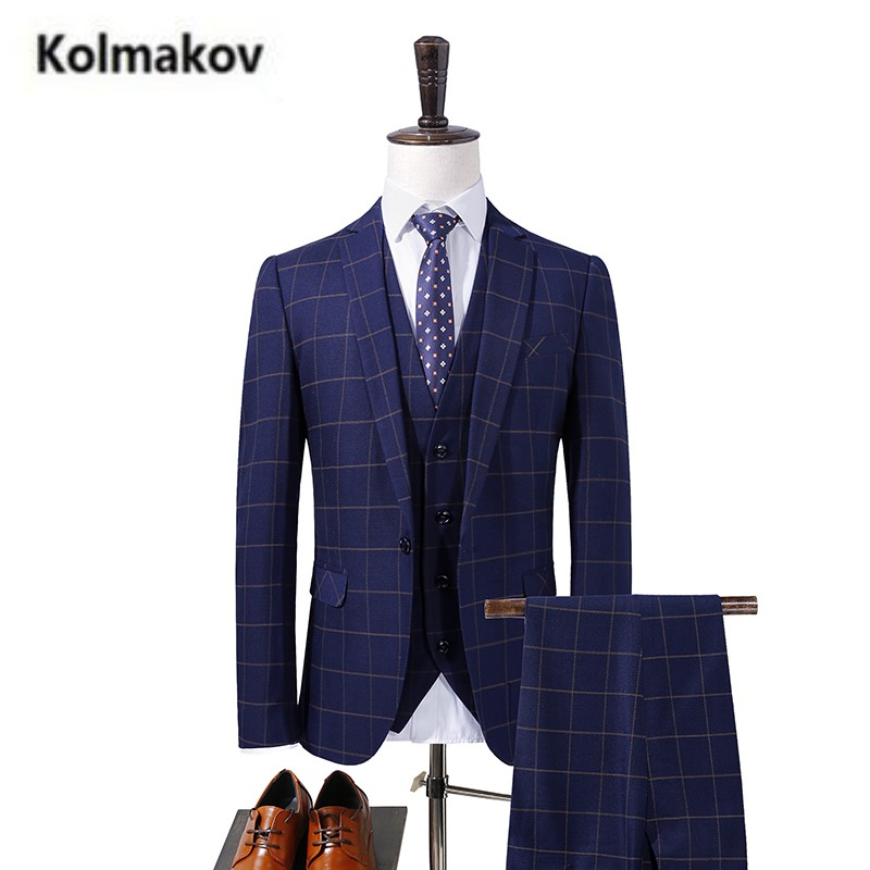 (Jacket+Pant+Vest)KOLMAKOV 2017 new Men's High quality classic plaid wool suits,wedding dress suit,formal Business blazer men