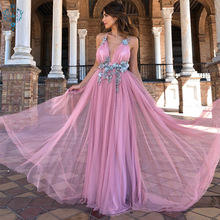 Ameision Elegant Backless Long Evening Dresses V-neck Appliques Sexy Chiffon Dress 2019 Women Party vestido longo