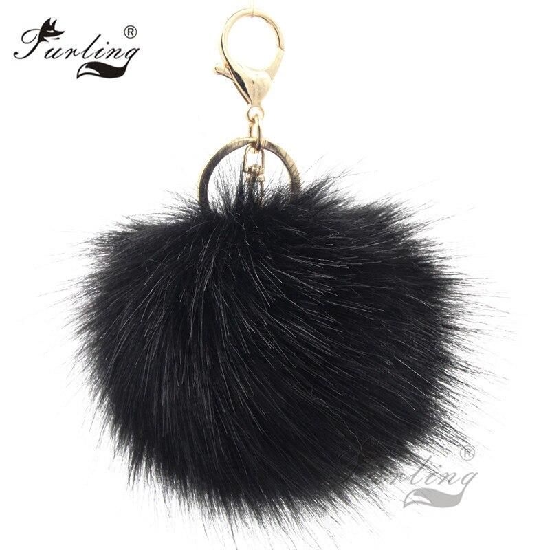 44d5a6bdb6 Furling 1PC first Fluffy Large 12CM Faux Fox Fur Pom pom Ball Key Chain Purse  Bag