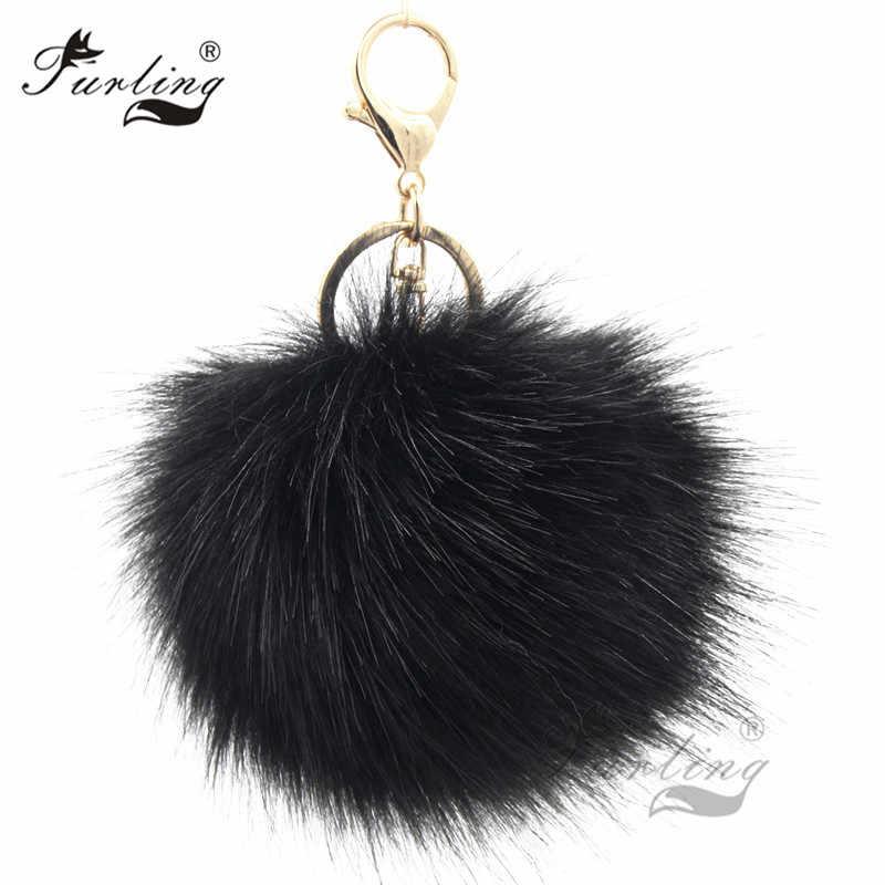 Furling 1PC first Fluffy Large 12CM Faux Fox Fur Pom pom Ball Key Chain Purse  Bag b449cb8a495c1