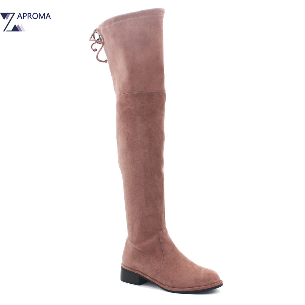 все цены на Pink Suede Over the Knee Low Heel Boots thigh High Lace Up Women 2018 Sewing Black Square Heel Round Toe Shoe Spring Fall Winter в интернете
