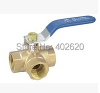 2pcs Lots Free Shipping L Type DN25 1 Female Connection Full Ports Brass Tee Ball Valve