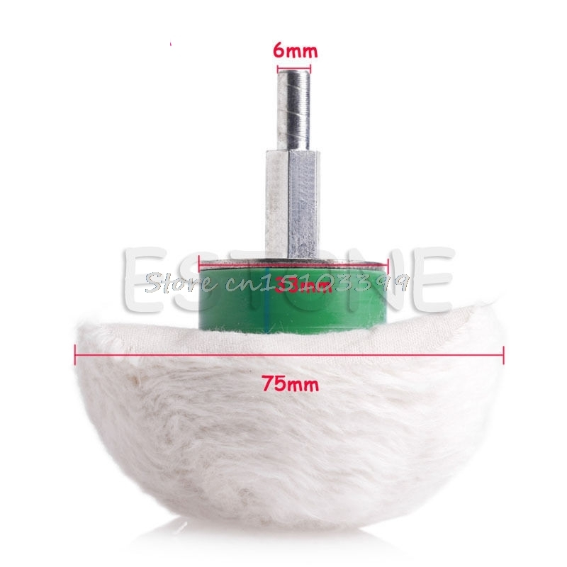 New 3'' Cotton Dome Polishing Buffing Wheel Polish Drill 1/4'' Shank Brush G08 Drop ship spta 4 100mm genuine wool buffing ball polishing pad ball hex shank turn power drill or impact driver high speed polisher