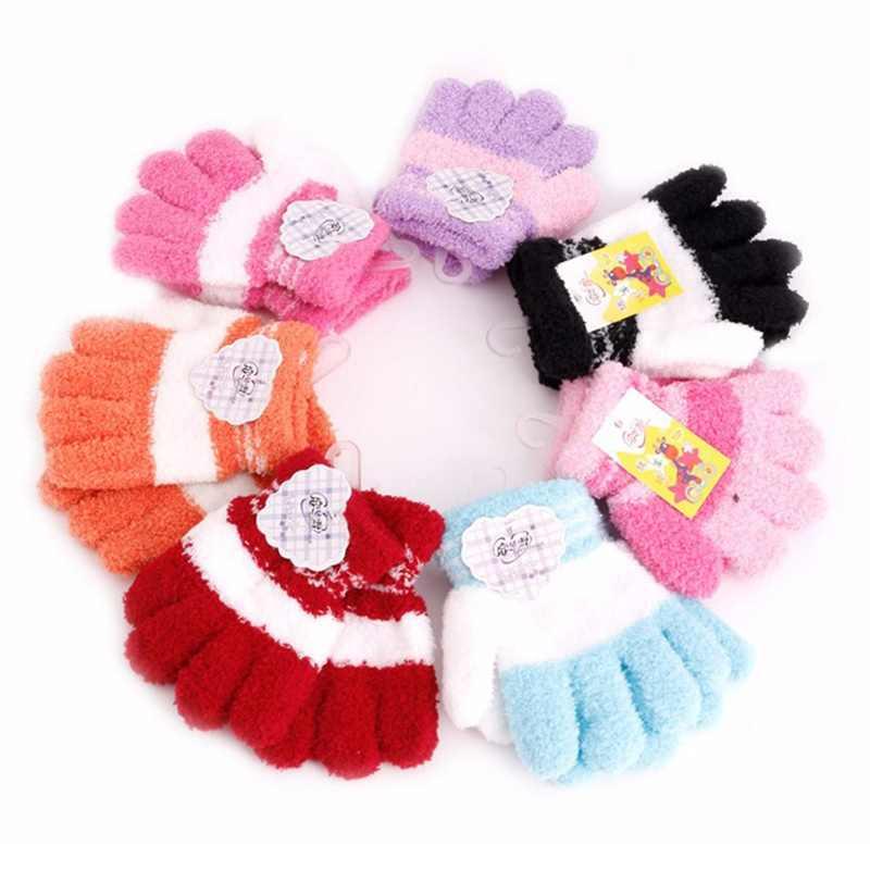 אופנה ילדים חדשים כפפות ילדה בני קטיפה רך מלא כפפות אצבע חם חורף אבזרים