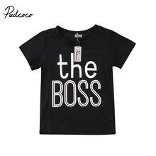 Новинка года; брендовая черная хлопковая футболка для маленьких мальчиков Топ с короткими рукавами; Повседневная Детская летняя одежда От 0 до 5 лет