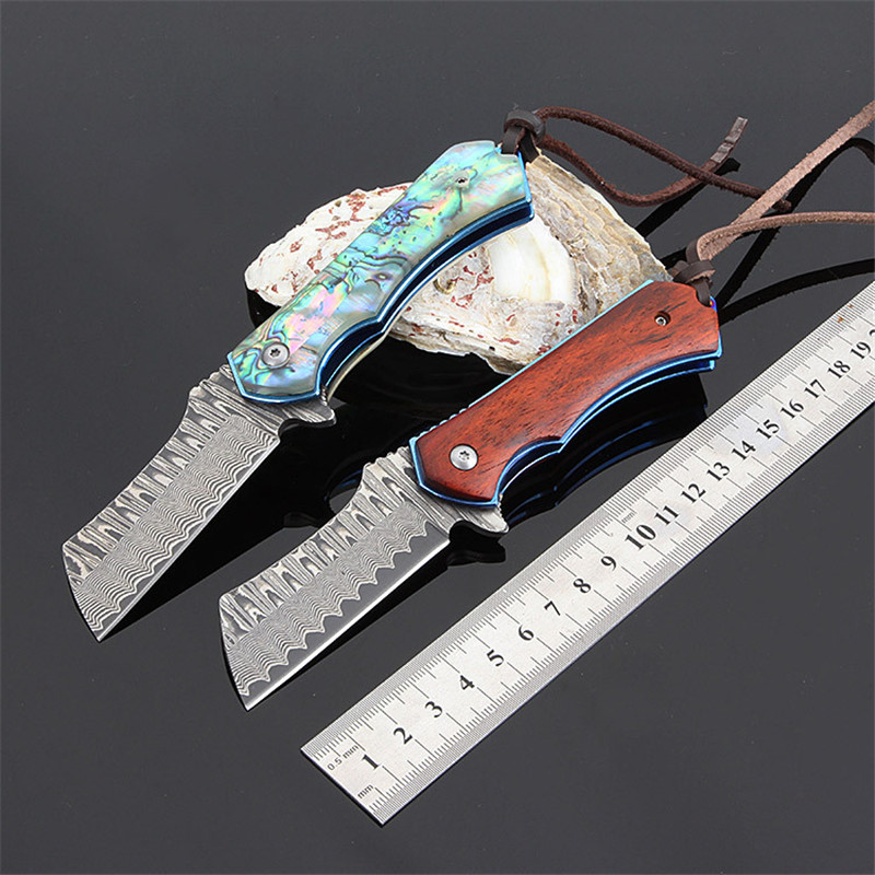 Damascus Steel Blade Folding Pocket tactical Knife Utility EDC Knife Outdoor travel EDC tool Camping hunting Knives цена