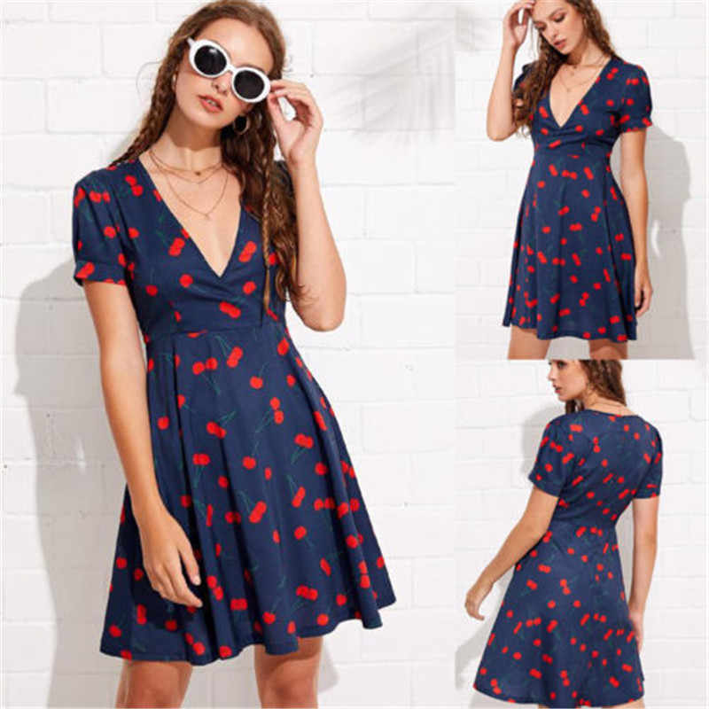 bbbf432974 ... summertime fashion women s wear relaxation short sleeve deep V neck  wrap dress Cherry printing minidress ...