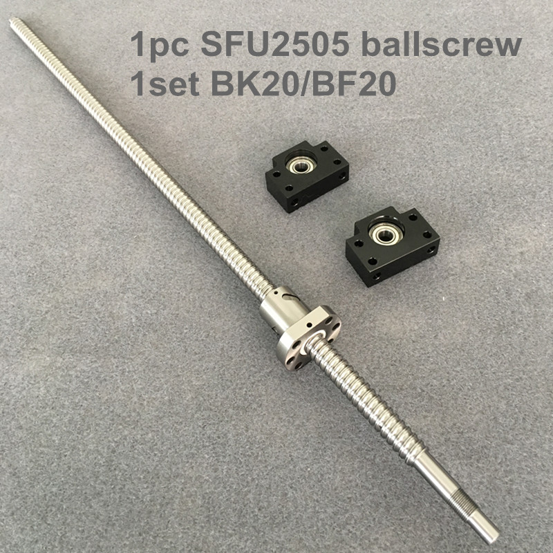 SFU / RM 2505 Ballscrew 300 350 400 450 500 550 600 650 700 mm with end machined + Ballnut + BK/BF20 End support for CNC parts ballscrew set sfu3205 300 350 400 450 500 550 600 mm with end machined 3205 ballnut bk bf25 end support for cnc parts