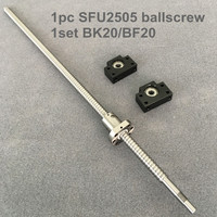 SFU / RM 2505 Ballscrew 300 350 400 450 500 550 600 650 700 mm with end machined + Ballnut + BK/BF20 End support for CNC parts