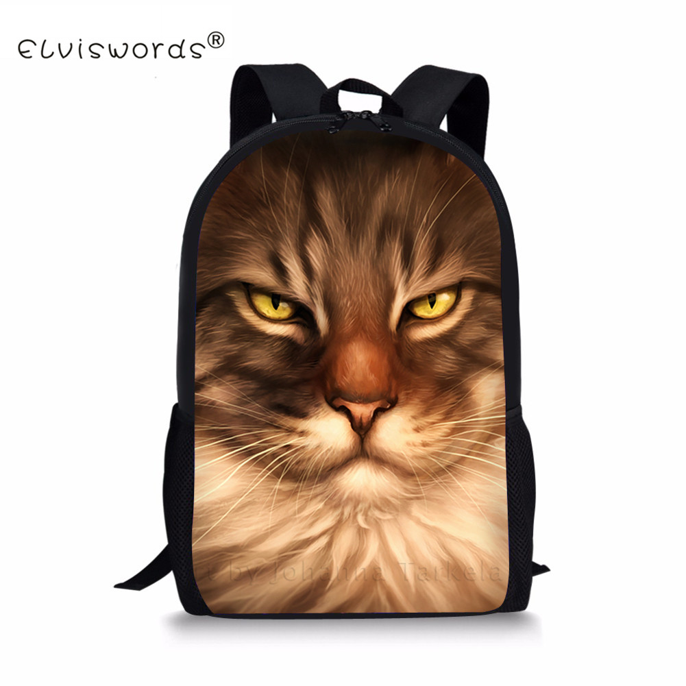 ELVISWORDS Cute Burmese Cat Printing Backpack for Teenager Girls School Backpack Travel Casual Women Rucksack for Kids Daypack