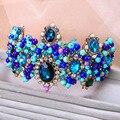 Pavão azul do vestido de casamento de luxo Barroco coroa noiva Coroa Tiara acessórios para o cabelo cocar estúdio 0896