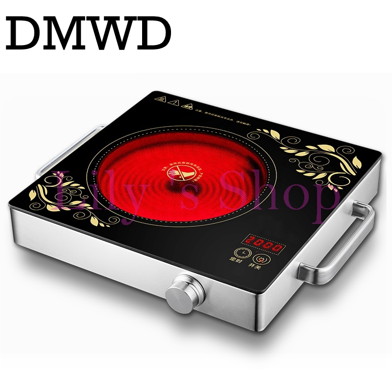 DMWD Electrical magnetic Waterproof induction cooker intelligent hot pot stove with timer ceramic induction household cooktop EU touch intelligent electric magnetic induction cooker household waterproof oven mini hot pot stove kitchen cooktop 220v ca2007g