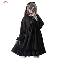 Harajuku Gothic Lolita Black Womens Dress With Stars Buttons 2018 Autumn Japanese Lace Up Long Sleeves Ruffles Teen Girls Dress