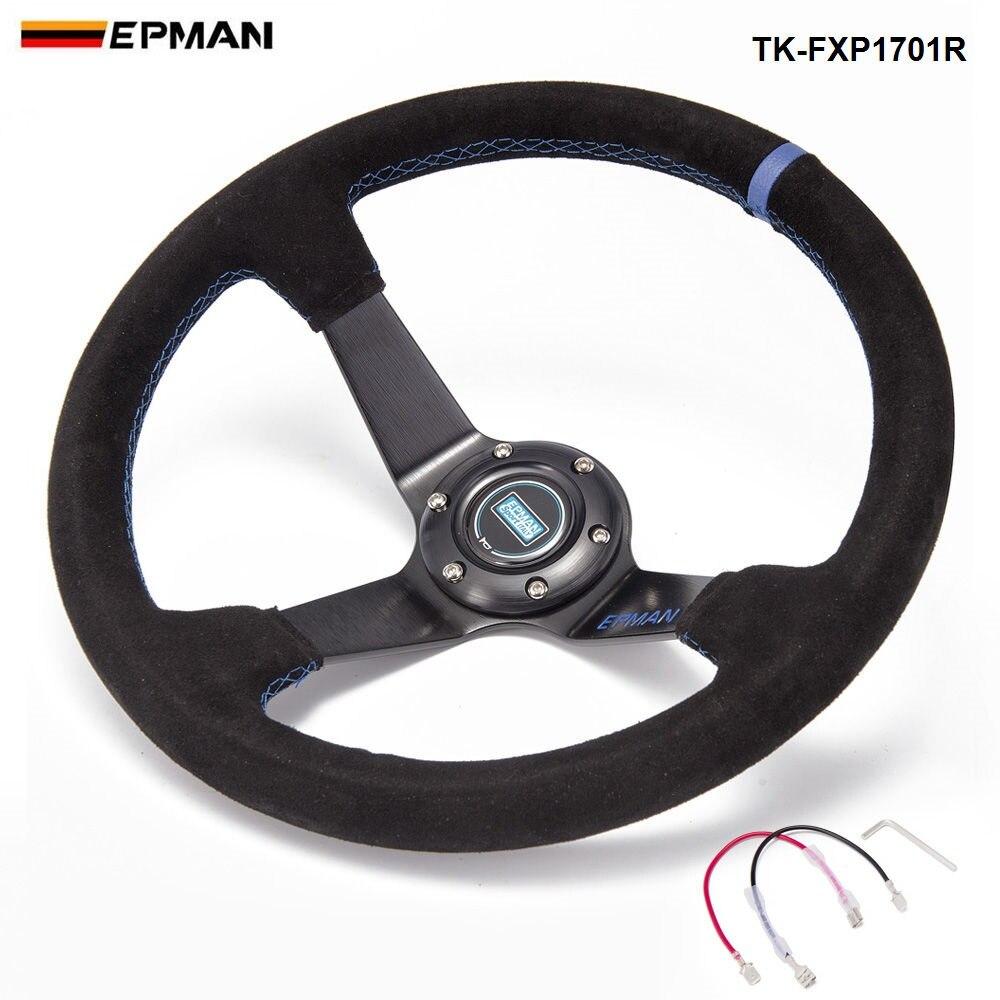 EPMAN спортивный автомобиль Алюминий 350 мм Универсальный 3.5 глубокое блюдо Drift гоночный руль Колёса с роговыми пуговицами tk-fxp1701r