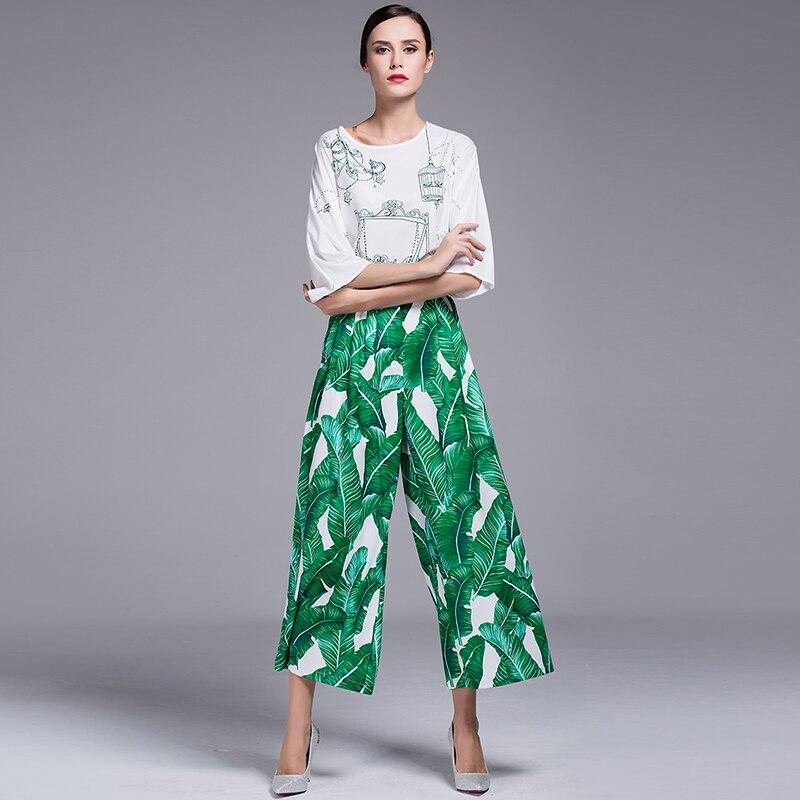 2017 сезон: весна–лето женские знаменитости Ретро Винтаж Высокая талия взлетно посадочной полосы моды зеленый лист печати Широкие брюки