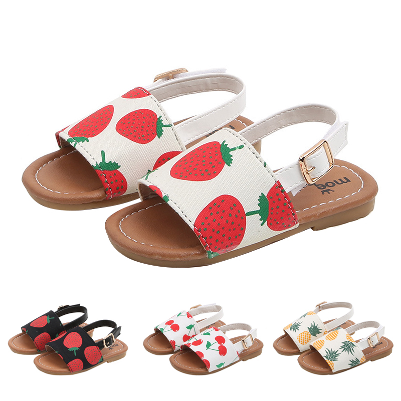 Kids Sandals Leather Cherry Printing Fashion Princess Summer Shoes For Little Girls Toddler Soft Sole Comfortable Baby ShoeKids Sandals Leather Cherry Printing Fashion Princess Summer Shoes For Little Girls Toddler Soft Sole Comfortable Baby Shoe