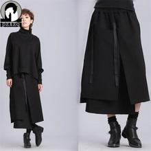 Индивидуальный карман, альтернативный дизайн, юбки с высокой талией, Женская зимняя новая длинная юбка с разрезом, двойной размер, большая нестандартная юбка, Vestid