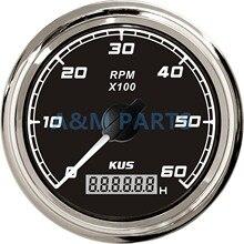 KUS Marine Tachometer Boat Tacho Gauge Car Truck RV Motor Tacho Meter Digital Engine Hourmeter 0-6000 RPM