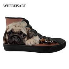 WHEREISART Классический с высоким берцем Вулканизированная обувь для мужчин бульдог узор парусиновая обувь повседневные кроссовки подростков