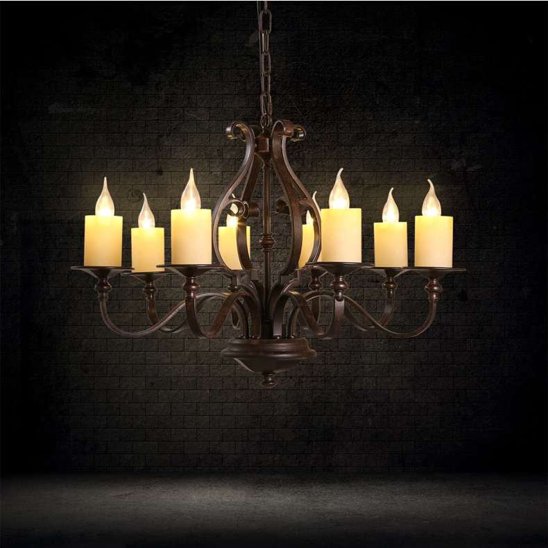 American Rural Loft Style Pendant Lights Contracted 8 Lamp Living Room Lamp Wrought Iron Vintage Art Deco Lighting Led Lights free shipping ems pendant light vintage lighting iron lamp american rustic lamp living room lights pendan