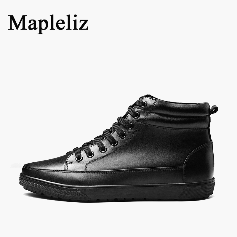 Mapleliz Brand Handmade Genuine Leather High Quality Lace-Up Ankle Boots For Men Round Toe Sewing Winter Warm Men Flat Boots front lace up casual ankle boots autumn vintage brown new booties flat genuine leather suede shoes round toe fall female fashion