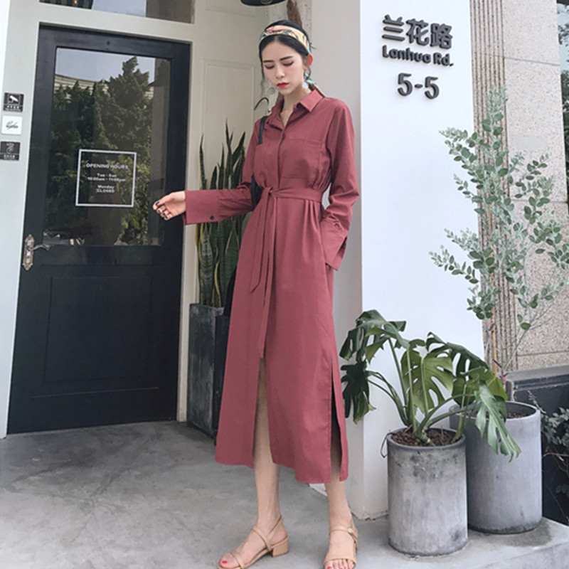 3e6332cd39847 Hong Kong Style Retro Long Dress Double Pockets Waist Thin Slim Dresses  Vintage Female Dress Spring 2018 Fashion Womens Clothing